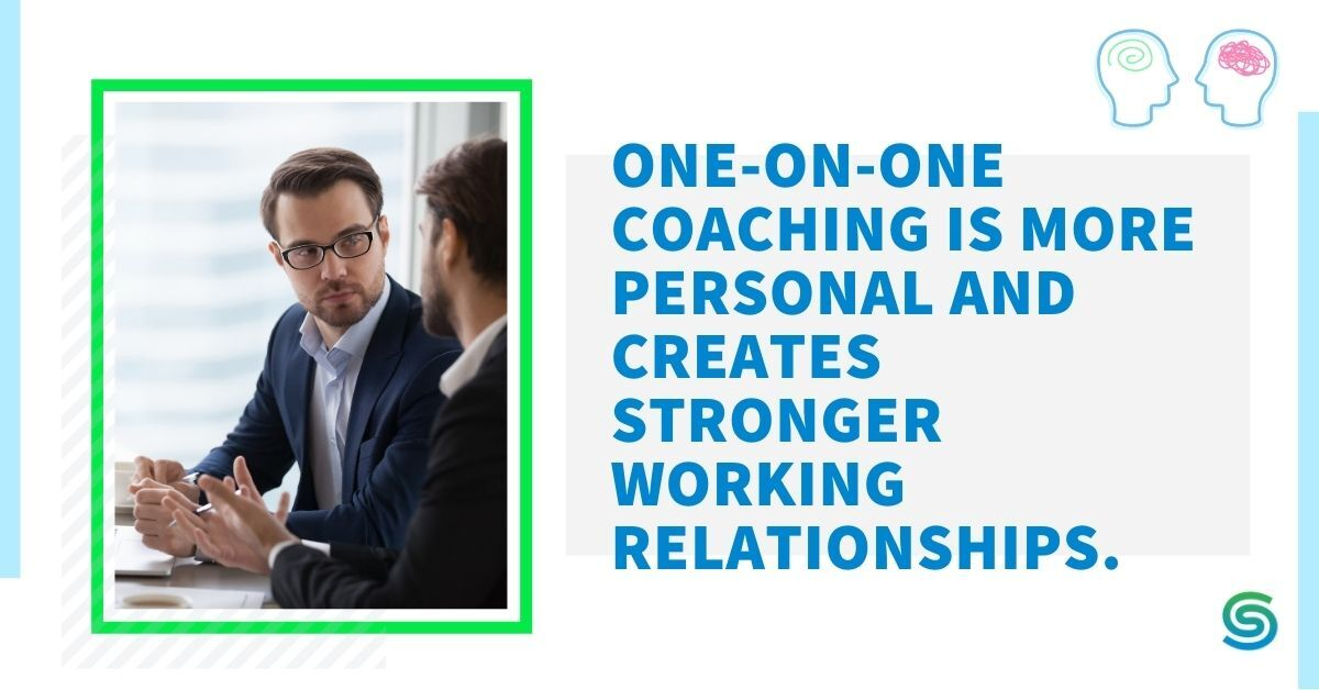 Business man explaining the benefits of one-on-one coaching