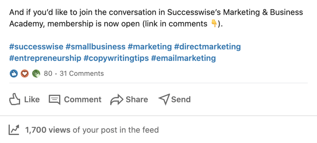 Top tip: Don't link to external sites in your LinkedIn post